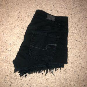 Size 0 Black Denim High-Wasted Shorts